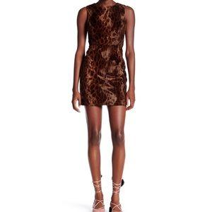 Topshop dress leopard faux leather shift faux fur
